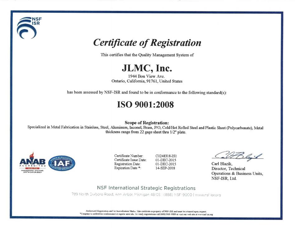 JLMC Inc Certificae of Registration ISO 9001-2008